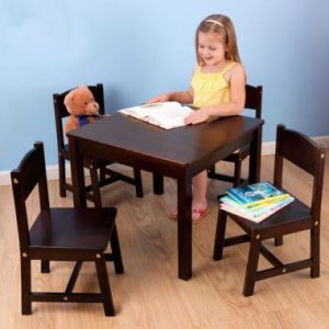 TABLE AND CHAIR SET 4 SEATER ESPRESSO